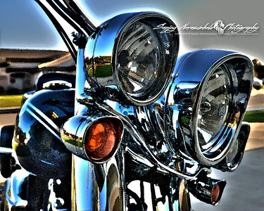 Harley Davidson Deluxe Chrome in Watercolor, Bakersfield, California, November 1, 2009