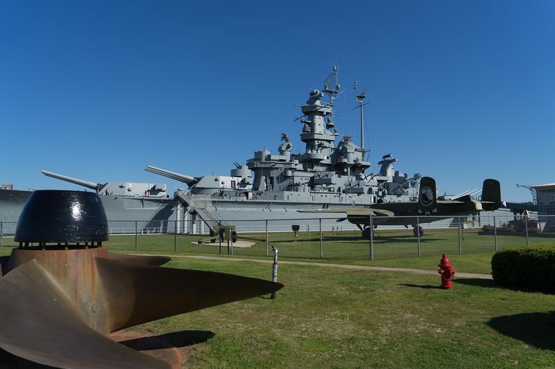USS Alabama, BB60, at rest in Mobile Bay, AL.