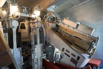 """Inside a 5"""" gun mount."""