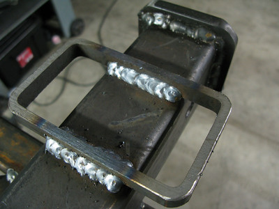 """We used a slice of 3"""" x 5"""" x 1/4"""" structural tubing for the safety chain attach points."""
