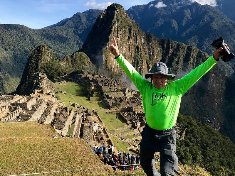 """Machu Picchu.  Perhaps I am happy to have completed the expedition.  Or, perhaps I am stoked that a hot shower is in my near future.  Four days without a shower and I am getting """"ripe""""."""