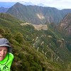 Machu Picchu is in the center of this photograph. Still a long ways off, but just seeing it, provided a mental boost.