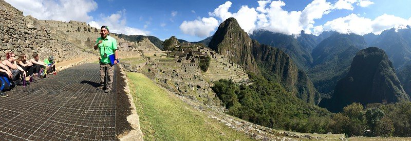 Panoramic.  Roesel providing us a history lesson on Machu Picchu and the Incan people. A truly great guide.