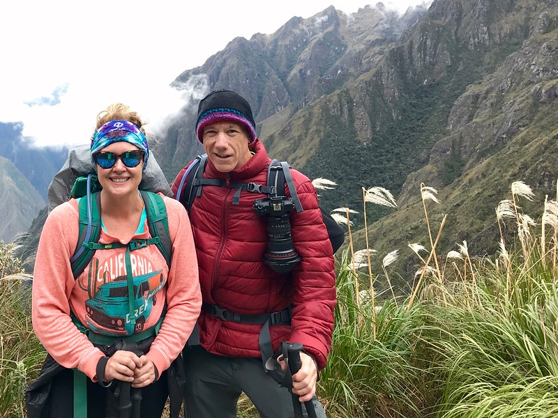 Mary and I, stopping for a photo op in the Andes Mountains, on the Inca Trail on our way to Machu Picchu.