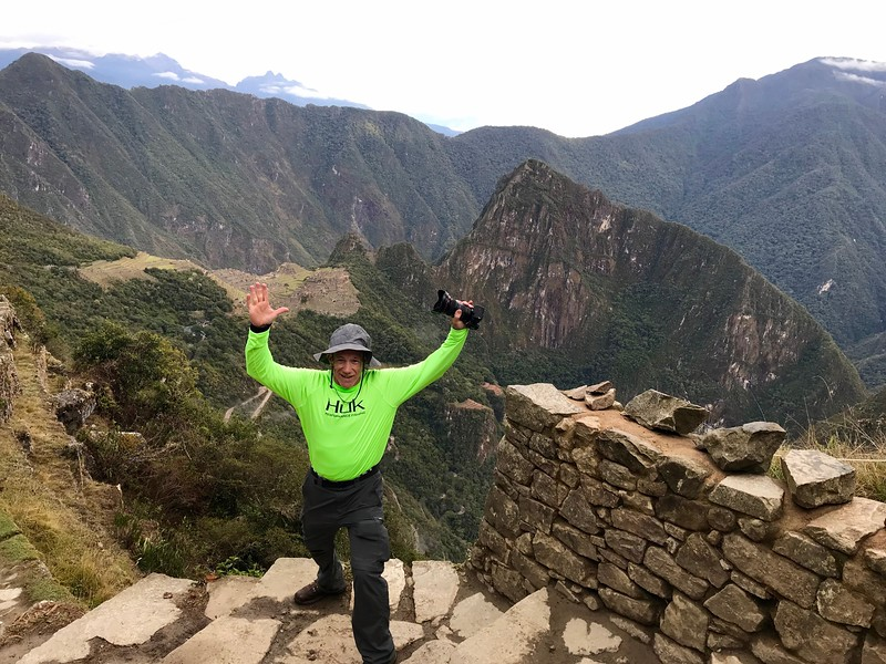 Made it!!! The Machu Picchu citadel directly behind my right hand. The destination goal is finally in sight.