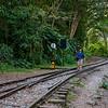 Walk along the railway tracks en route Aguas Calientes near Machu Picchu, Peru