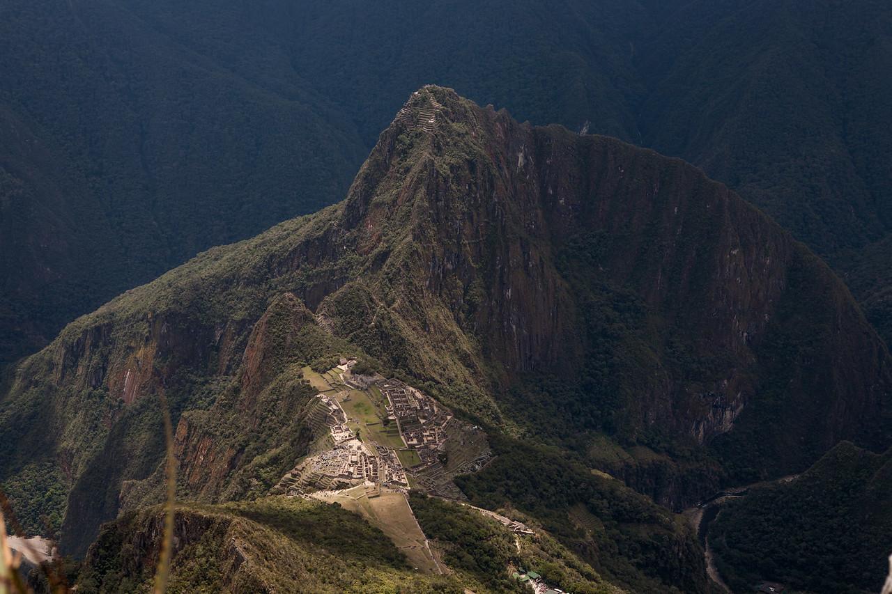 Machu Picchu looking like a miniature set from atop Montana