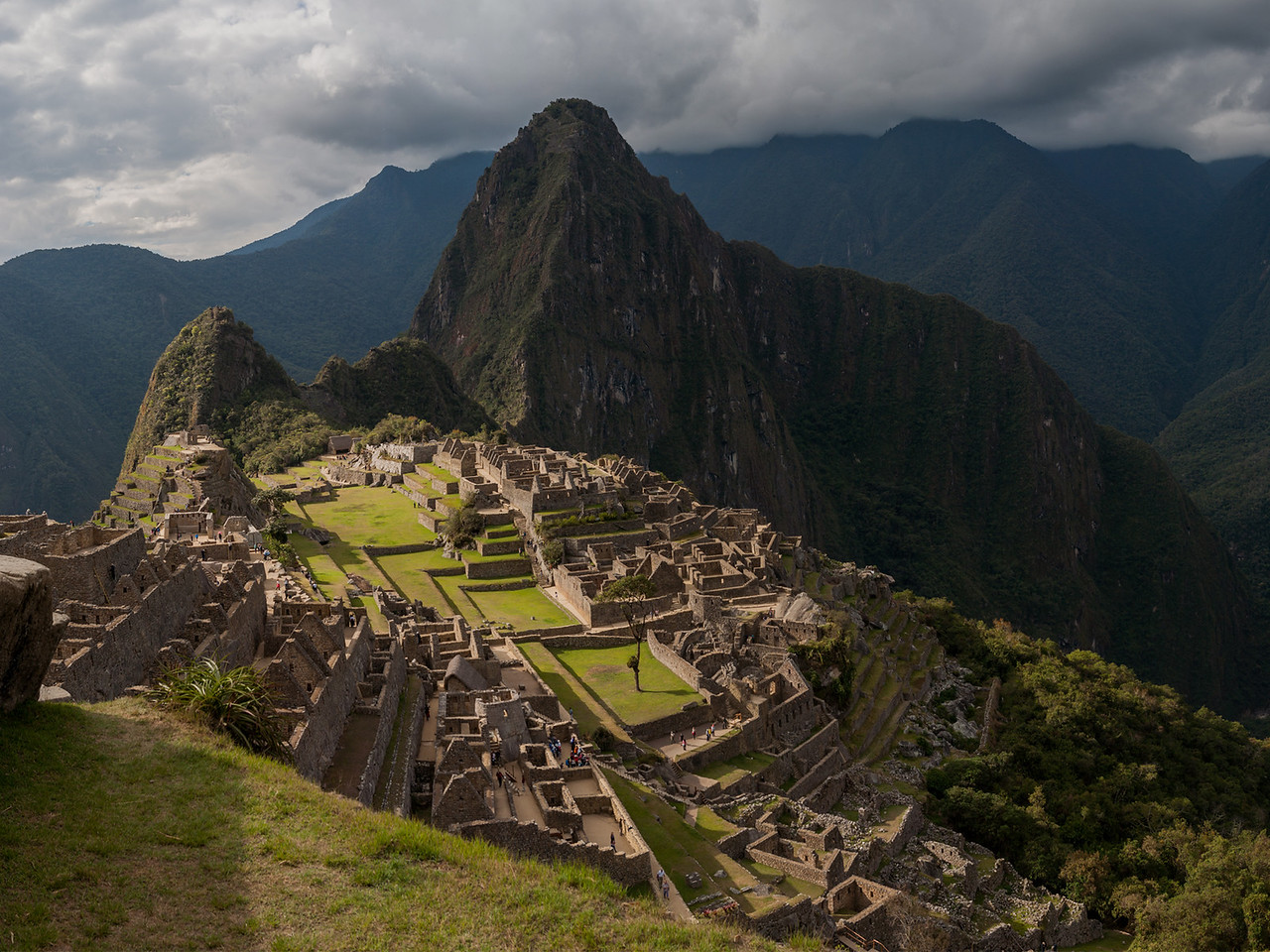 Machu Picchu set against the backdrop of Huayna Picchu