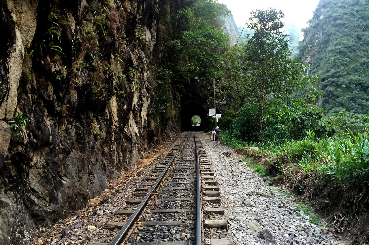 Tunnel leading to Aguas Calientes from Hidroelectric, on the way to Machu Picchu
