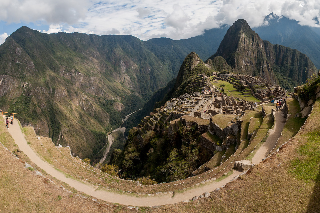 View of the Machu Picchu ruins from a terrace, Peru