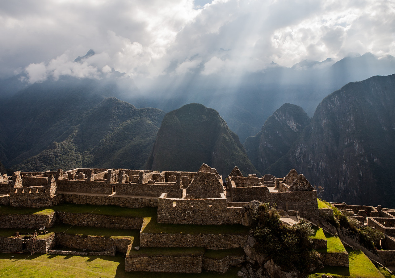 Houses and farming terraces at Machu Picchu, Peru