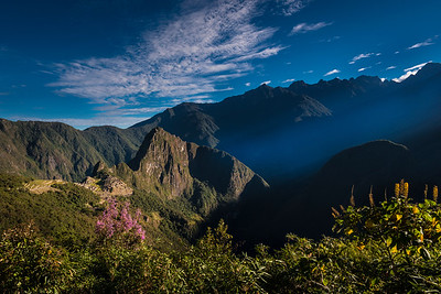 On the Inca Trail at sunrise, high above Machu Picchu, Peru