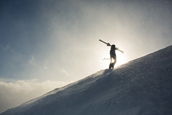 """Piper Noble hikes up to """"Whitewall"""" at Kicking Horse Mountain Resort"""