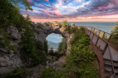 Arch Rock.  Mackinac Island, Michigan.  These are the only images you can find where the horizon is actually seen, as opposed to being obscured by the formation.