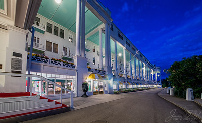 The Grand Hotel night .  Mackinac Island Michigan.