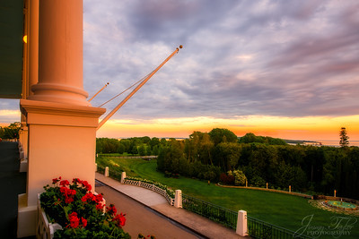 The Grand Hotel at Sunset.  Mackinac Island Michigan.