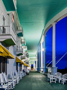 The Grand Hotel at Night.  Mackinac Island Michigan.