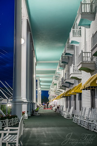 The Grand Hotel Porch at Night.  Mackinac Island Michigan.