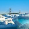 The BLUE Ice of Mackinac on display with the Mackinac Bridge in teh background.   #Michigan #MackinacIsland #Mackinac #PureMichigan #MichiganAwesome #MliveNews #landscapephotography #puremichigan #mackinaw #upnorth #greatlakes #puremittenpride #natgeotravel #travelandleisure #travelawesome #greatlakesproud #mynorthmoments #mackinawcity #mackinawchamber #mackinacbridge #mightymac #sunrise #blueice #greatlakeslocals #mackinacisle #mackinawcitymi #mackinawcity #michigansun