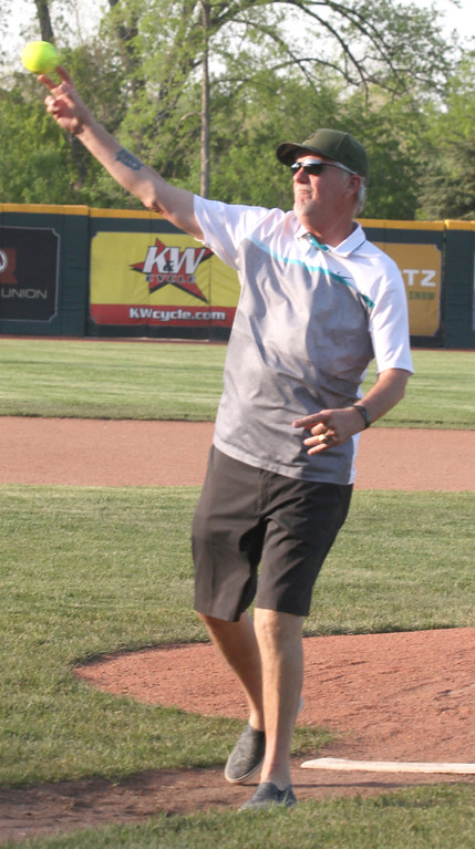 . Dave Rozema throws the first pitch