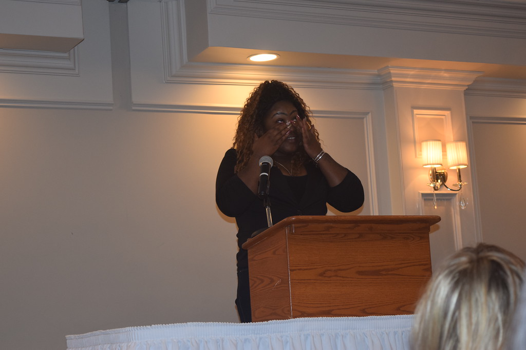 . April Chatman of Warren shares her inspiring story during a women\'s luncheon to benefit Macomb Habitat.