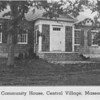 Early image of the Community House. Note the two growing trees on either side in the front, where just one remains today.