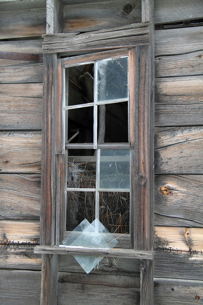 Window with fallen panes of glass