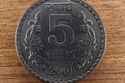 Indian 5 Rupee piece photographed at 1:1