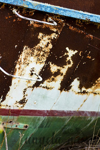 Closeup of old boat hull and steps
