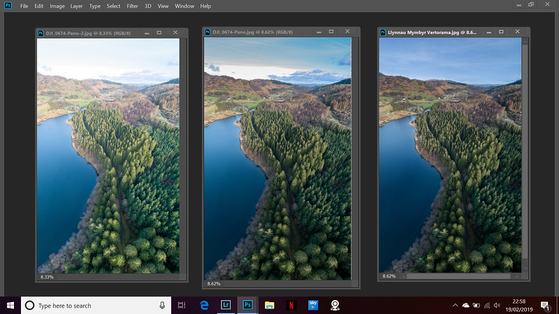 Finished image comparison.   left image is first merged version before any adjustments, then the finished version in lightroom, then final image in photoshop