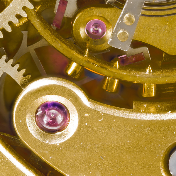 Closeup of the natural Rubies used in this watch