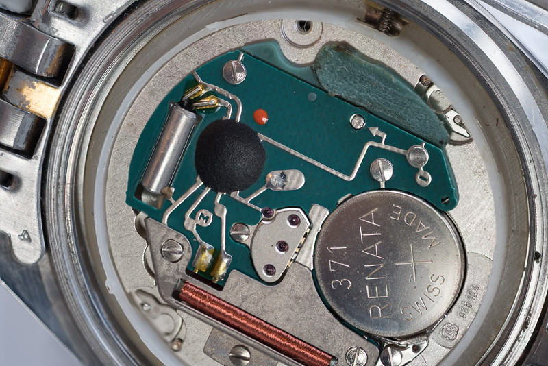 Back of an early Wittnauer watch, (battery operated)