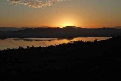 Sunrise over Lake Elsinore, from the plateau above the main house.