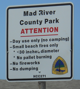 A sign at Mad River County Park lays out the rules for visitors, though county staff say that they are regularly being broken. The Board of Supervisors voted on Tuesday to restrict nighttime parking and install two new gates to deter rule breakers. (Humboldt County Public Works Department - Contributed)