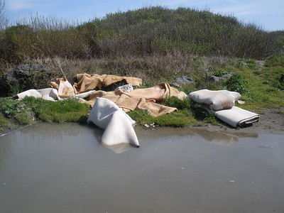 Piles of illegally dumped debris and furniture are regularly found at Mad River County Beach.  (Humboldt County Public Works Department - Contributed)
