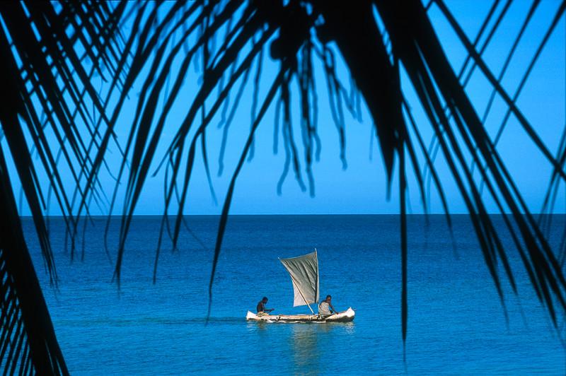 Pirogue with plastic sail, Ifaty, Madagascar