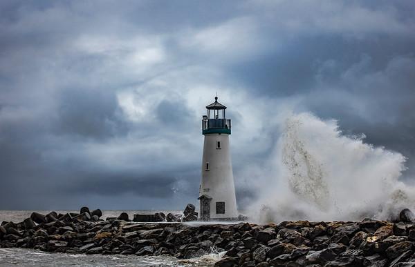 Winter Storm Wave crashing at Walton Lighthouse