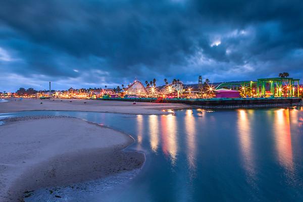 Santa Cruz Boardwalk during a stormy evening