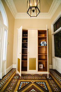 Vestibule storage unit.