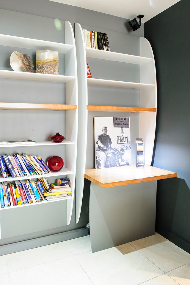 Bookcase made from hi gloss painted MDF with Acrylic and Cherry Shelves