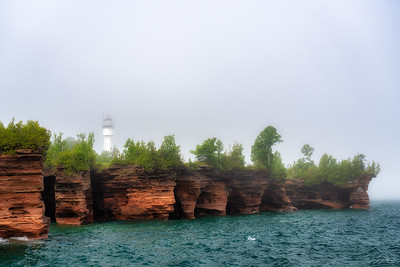 Sea Caves and Lighthouse on Devil's Island, Apostle Islands, Wisconsin
