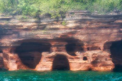 Skull Rock Through the Mist, Devil's Island, Wisconsin