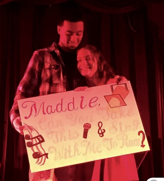 . Maddie�s classmate and friend, Jaime Velez of Lowell, with a �promposal� she couldn�t refuse