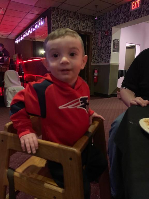 . The adorable Owen Kazanjian of Lowell enjoys the festivities.