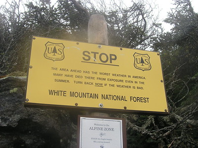 "With these unpleasant conditions of heavier rains and becoming uncomfortable, we at last we reached the ""Stop People Have Died Above Treeline"" sign, and within minutes we saw Madison Springs Hut up ahead."