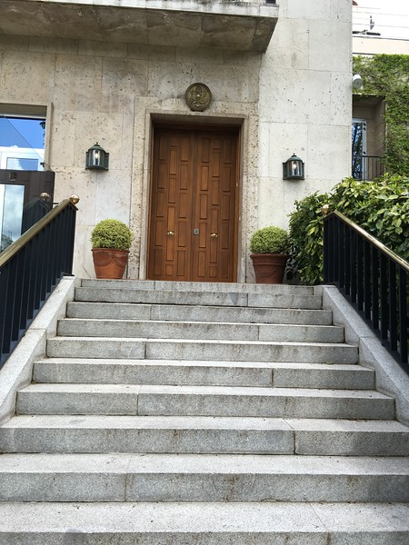 Front door to the private residence at the Embassy