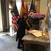 The Whistler House's Sara Bogosian signs the official guest book