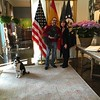 Ambassador James Costos and Sara Bogosian with residence dogs El Greco and Whistler (in Ambassador's arms)