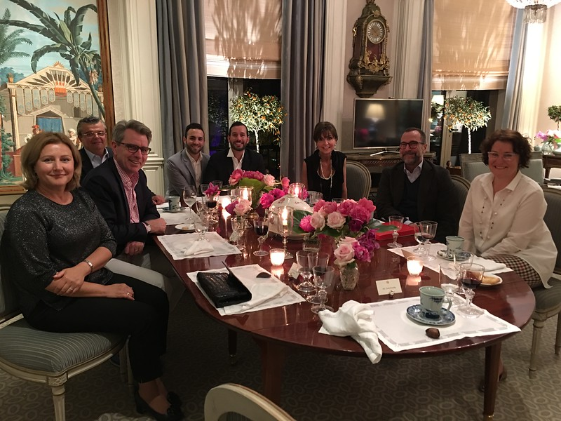 Dinner at the Embassy, from left, Svetlana Pohoreltsev, wife of the Ukraine Ambassador to Spain; Geoffrey R. Pratt, U.S. Ambassador to Ukraine; Zach Portillo, Chief of Staff to Ambassador James Costos; Freddie Rodriguez; Whistler House Executive Director Sara Bogosian; U.S. Ambassador to Spain and Andorro James Costos; Mary Pyatt, wife to the U. S. Ambassador to Ukraine.