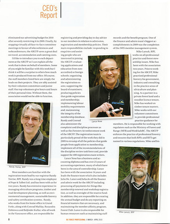 Contract - head and shoulders shots of all senior staff at Association of BC Forest Professionals